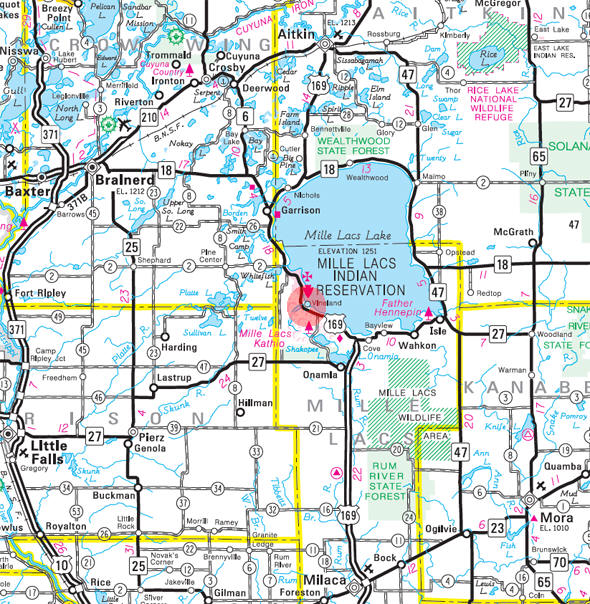 Minnesota State Highway Map of the Vineland Minnesota area