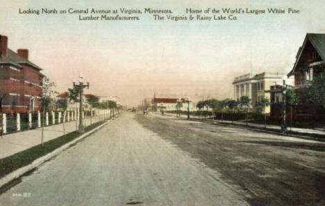 Looking north on Central Avenue, Virginia Minnesota, 1910's