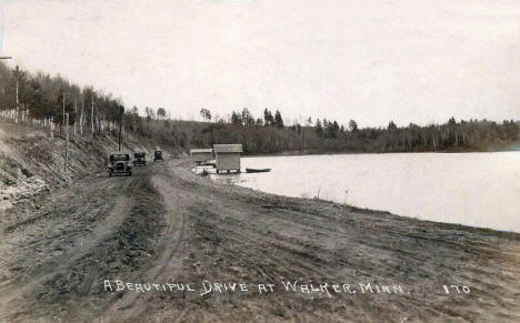 A beautiful drive at Walker Minnesota, 1920's