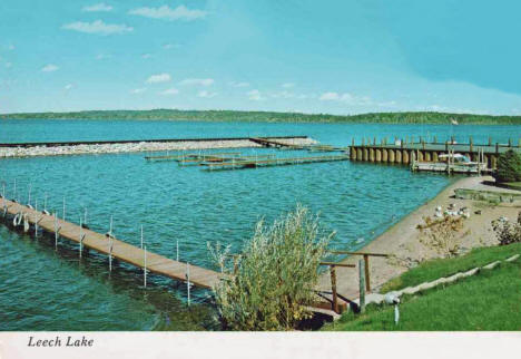 Municipal Dock on Leech Lake, Walker Minnesota, 1970's
