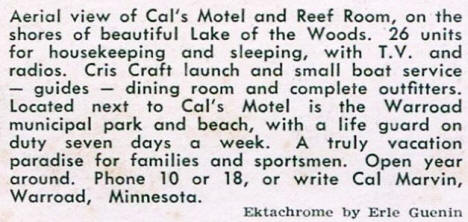Cal's Motel and Reef Room, Warroad Minnesota, 1960's
