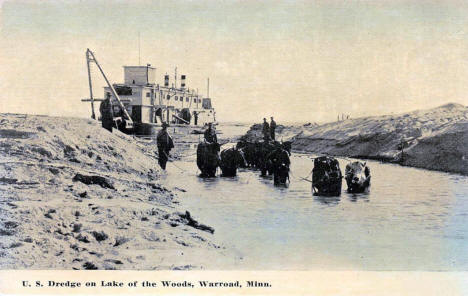 US Dredge on Lake of the Woods, Warroad Minnesota, 1910's