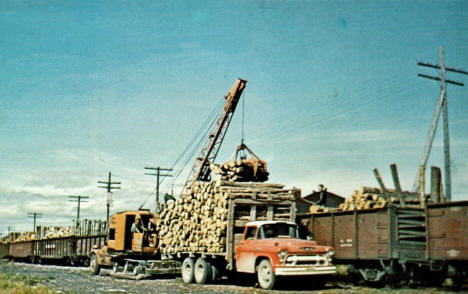 Loading pulpwood, Warroad Minnesota, 1960's