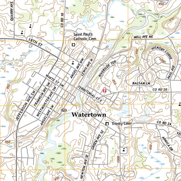 Topographic map of the Watertown Minnesota area