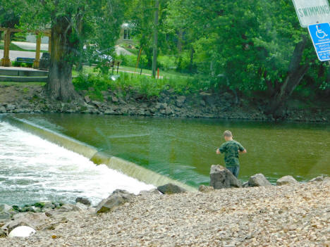 Fishing at the Dam on the Crow River at Watertown Minnesota, 2020