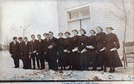 Confirmation Class, unknown church, Westbrook Minnesota, 1910