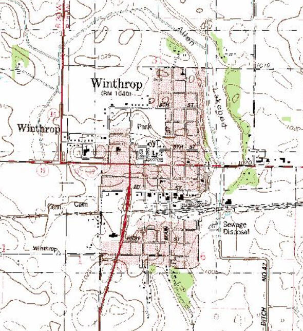 Topographic map of the Winthrop Minnesota area