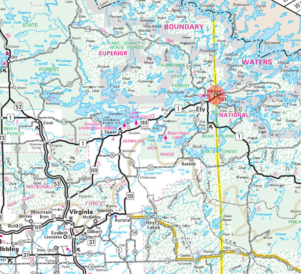 Minnesota State Highway Map of the Winton Minnesota area