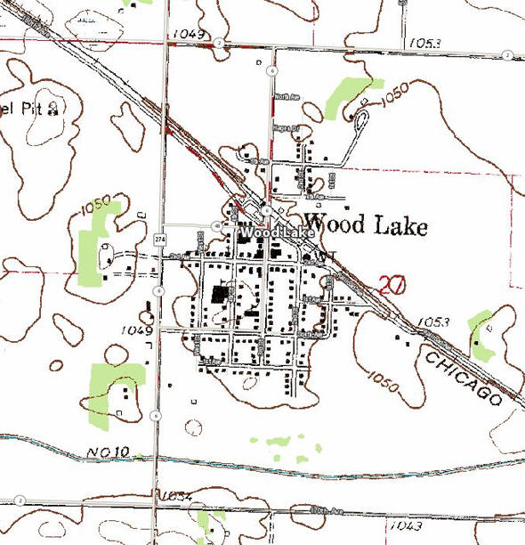 Topographic map of the Wood Lake Minnesota area