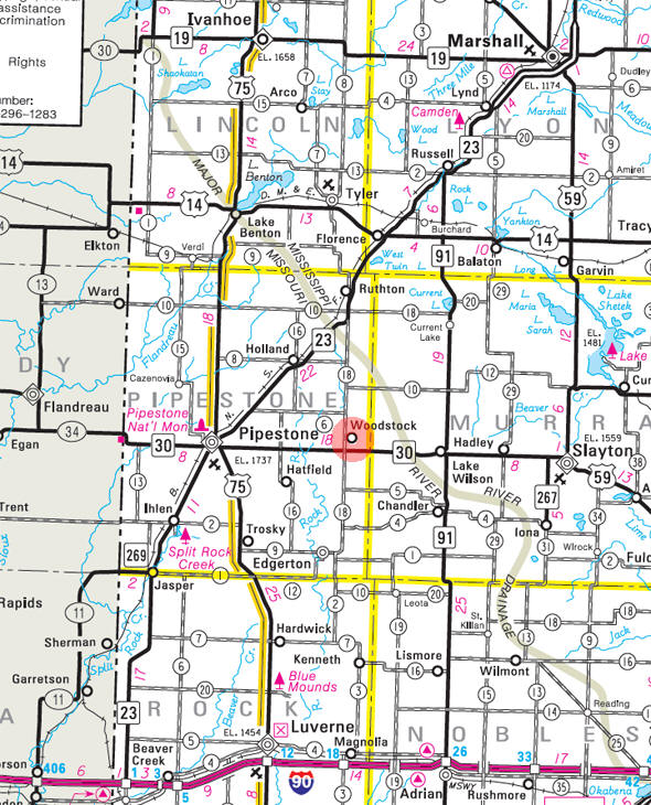 Minnesota State Highway Map of the Woodstock Minnesota area