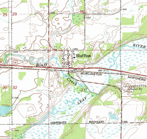 Topographic map of the Bluffton Minnesota area