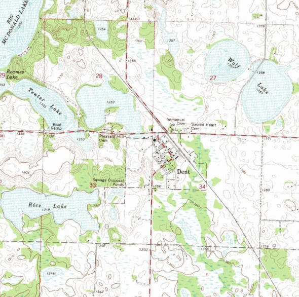 Topographic map of the Dent Minnesota area