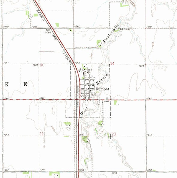 Topographic map of the Dumont Minnesota area