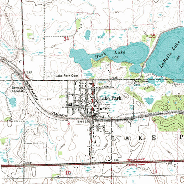 Topographic map of the Lake Park Minnesota area