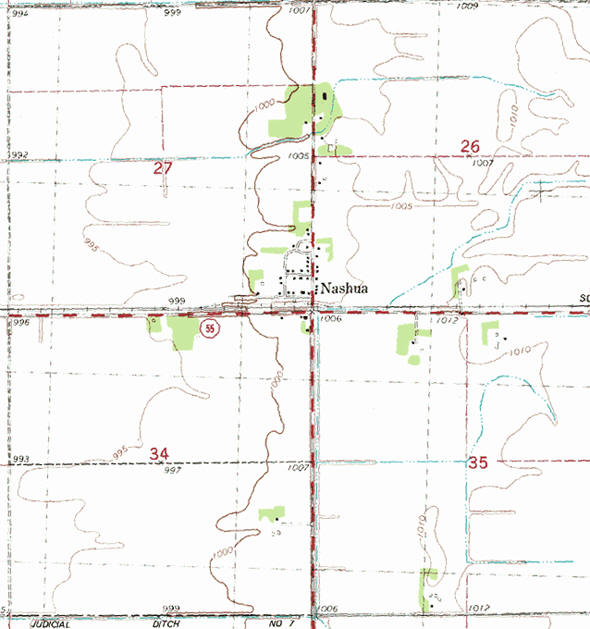 Topographic map of the Nashua Minnesota area