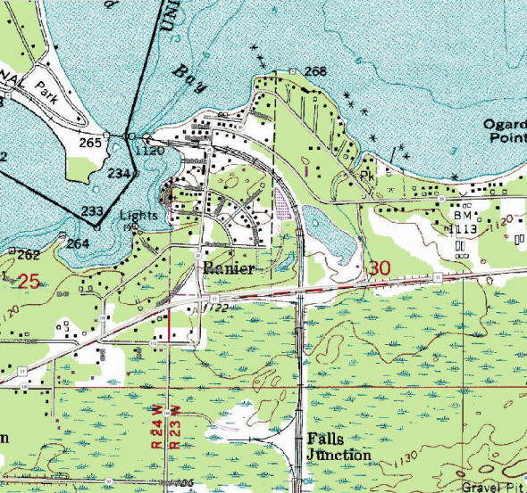 Topographic map of the Ranier Minnesota area