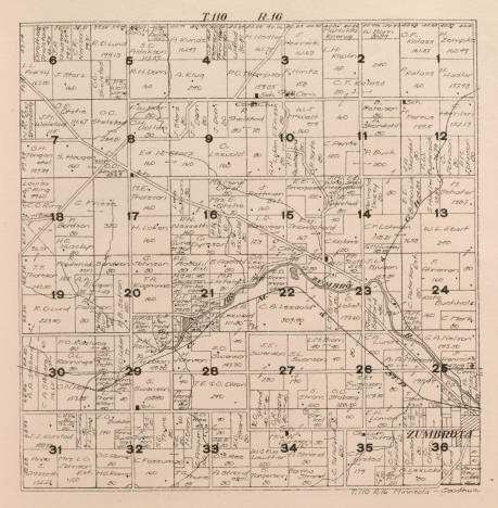 Plat Map, Minneola Township in Goodhue County Minnesota, 1916